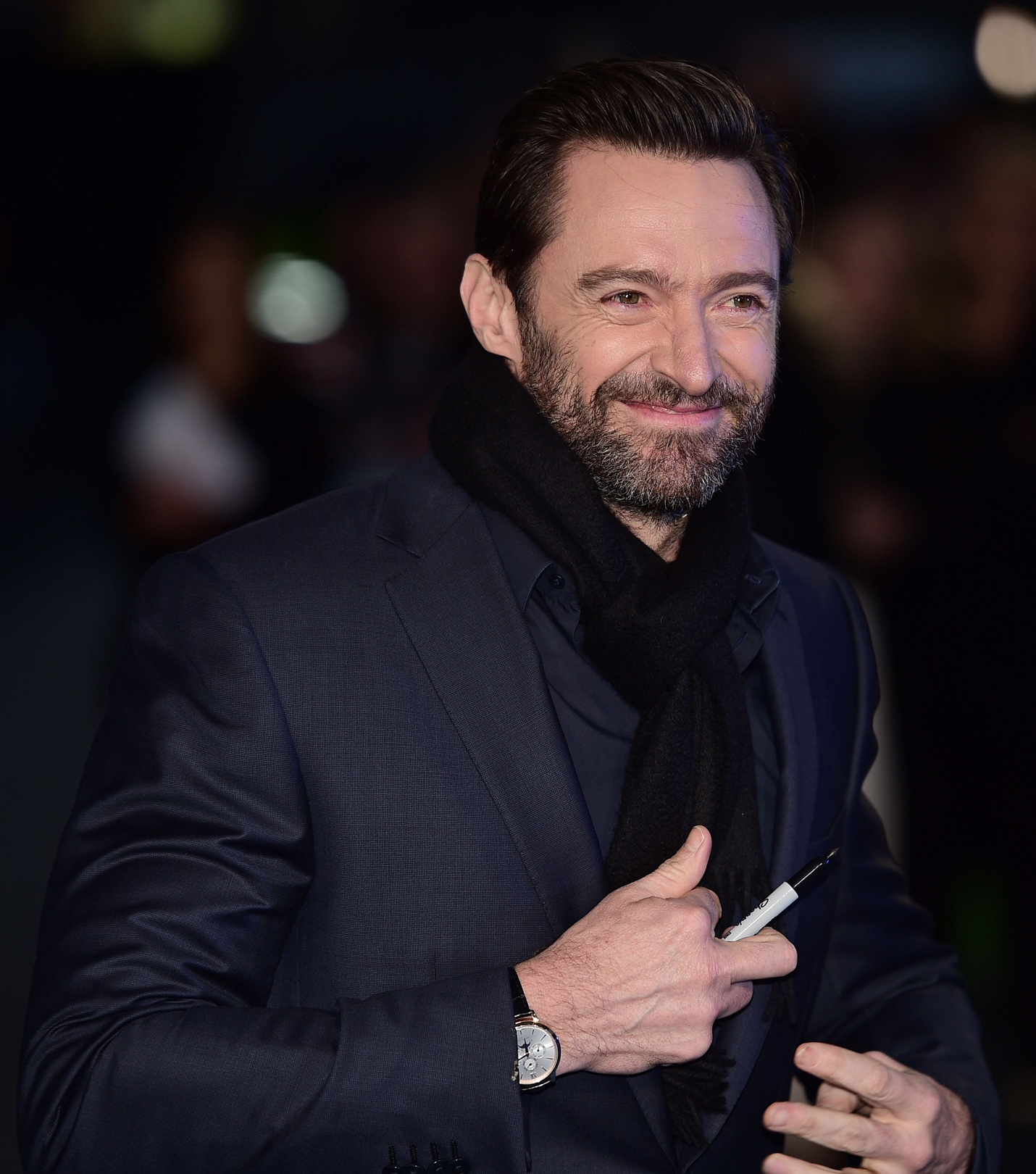 "Australian actor Hugh Jackman arrives for the European premiere of ""Eddie The Eagle"" in London on March 17, 2016. / AFP / LEON NEAL        (Photo credit should read LEON NEAL/AFP/Getty Images)"