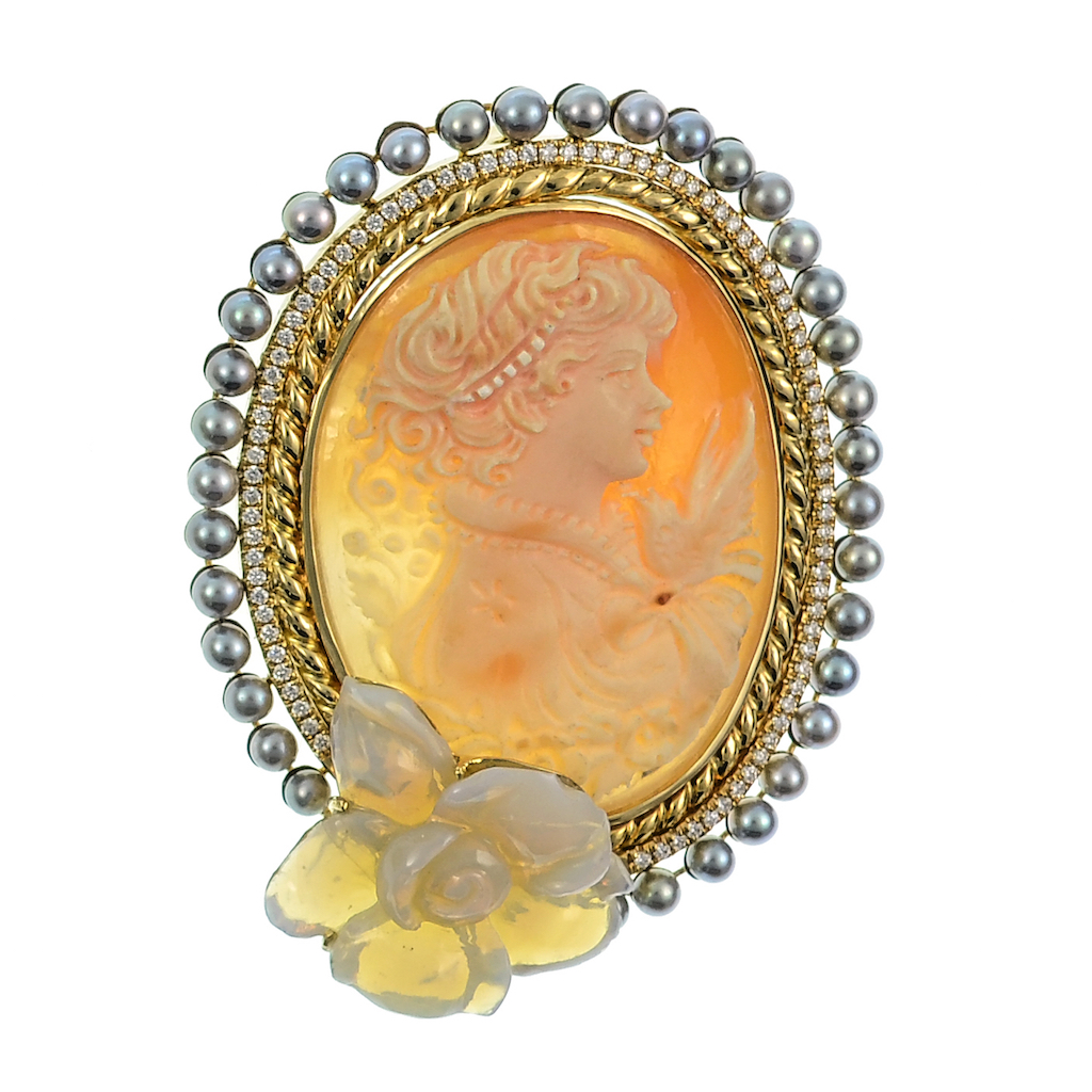 Italian cameo, diamonds, gray pearls and carved flower opal in yellow gold brooch.