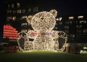 16.A 22-foot teddy bear covered in LED lights will be a favored backdrop at the garden by Nobu Hotel, as it sets the holiday mood and illuminates the outdoor space