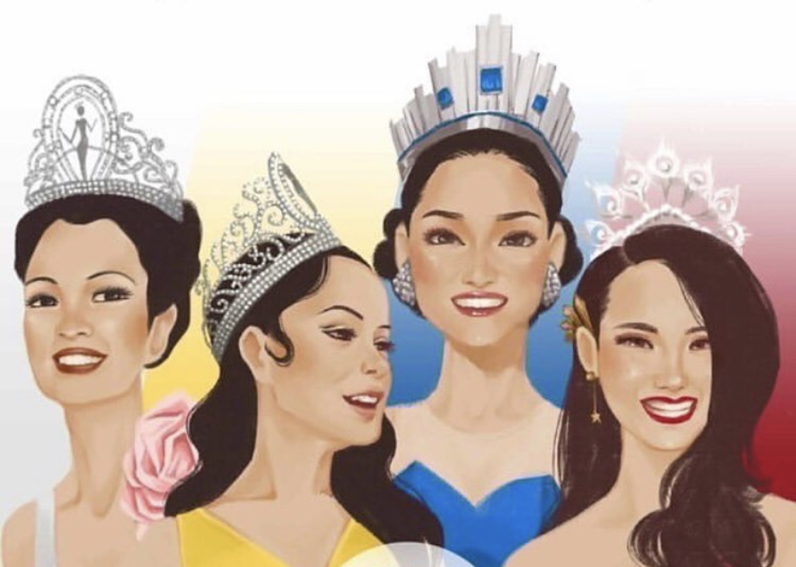 The Historic Feats Behind Every Filipino Beauty Queen S Miss U Victory Peopleasia Luxury miss universe crown round wedding pearl crown peakcock feather tiara rhinestone pageant prom crowns cz coroa novia. peopleasia